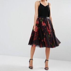 Ted Baker Ondra Juxtapose Rose Print Tutu Skirt